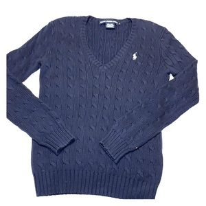 Navy blue Polo cable knit sweater
